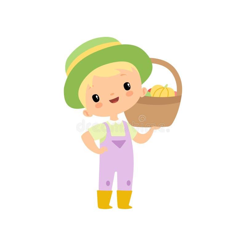 Leuke Jongen in Overall, Rubberlaarzen en Hoed met Mand van Verse Groenten, Jonge Landbouwer Cartoon Character Harvesting stock illustratie