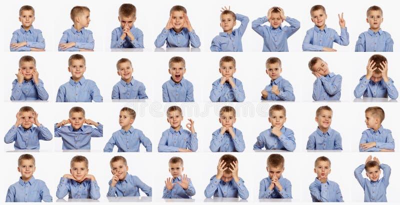 Leuke jongen, reeks verschillende emoties, collage op witte achtergrond stock fotografie