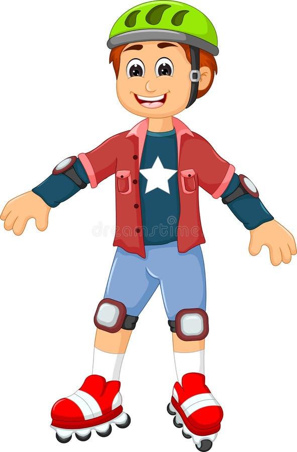 Leuke jongensbeeldverhaal het spelen rolschaatsen vector illustratie