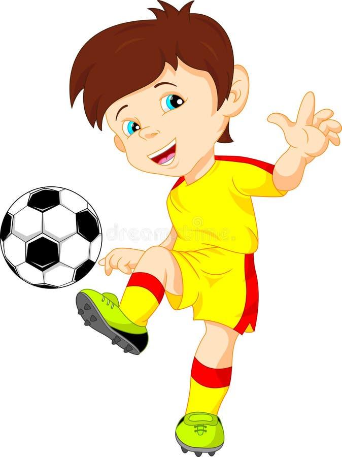 Leuke jongensvoetballer stock illustratie