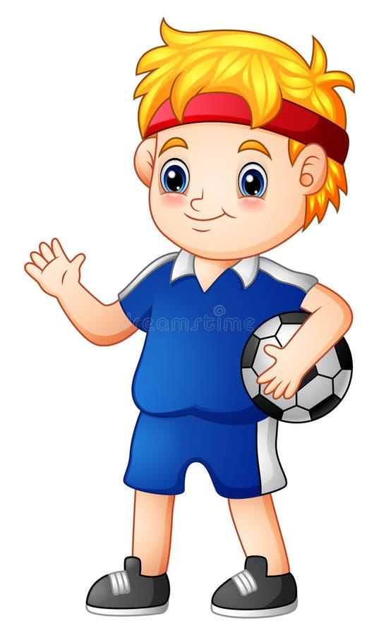 Leuke jongensvoetballer met een bal stock illustratie