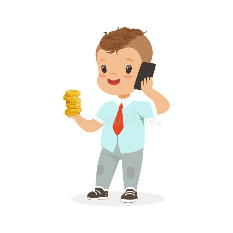 Leuke jongenszakenman die op smartphone spreken en stapel gouden muntstukken in zijn hand, jonge geitjesbesparingen en financiën  royalty-vrije illustratie
