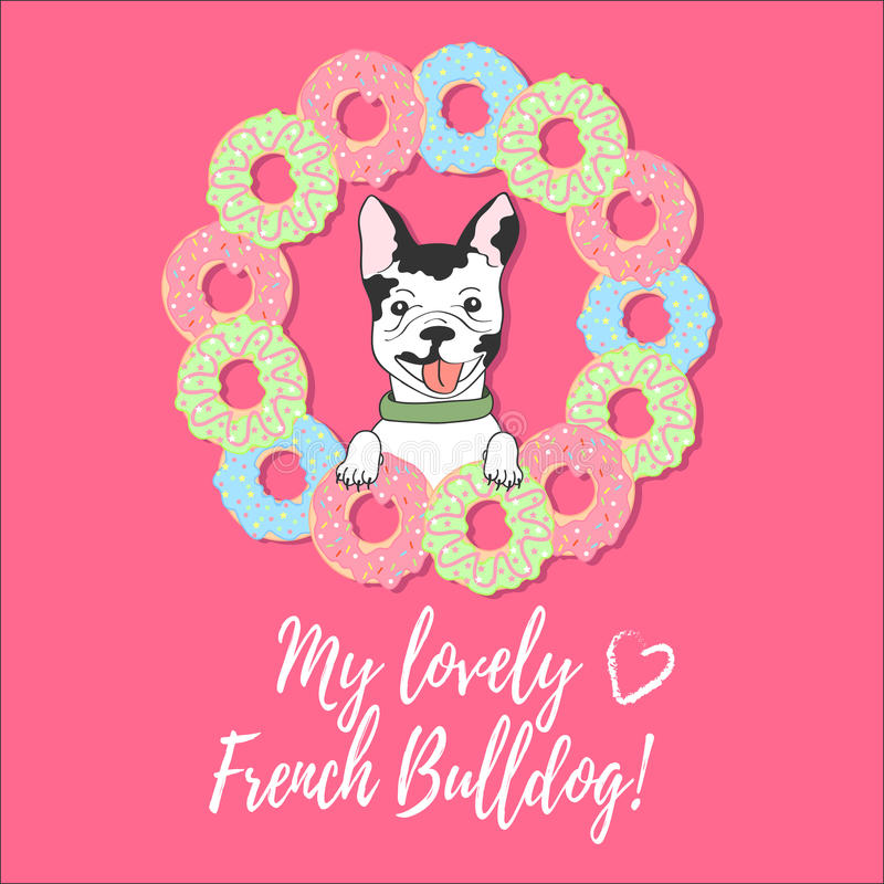Leuke kaart met Franse buldog, donuts en tekst op een roze achtergrond stock illustratie