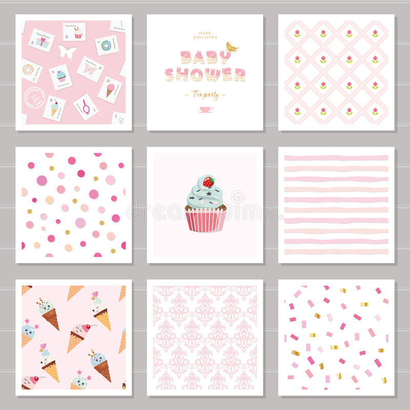 Leuke kaartmalplaatjes en naadloze die patronen voor meisjes worden geplaatst Voor verjaardag, huwelijk, het ontwerp van de babyd vector illustratie