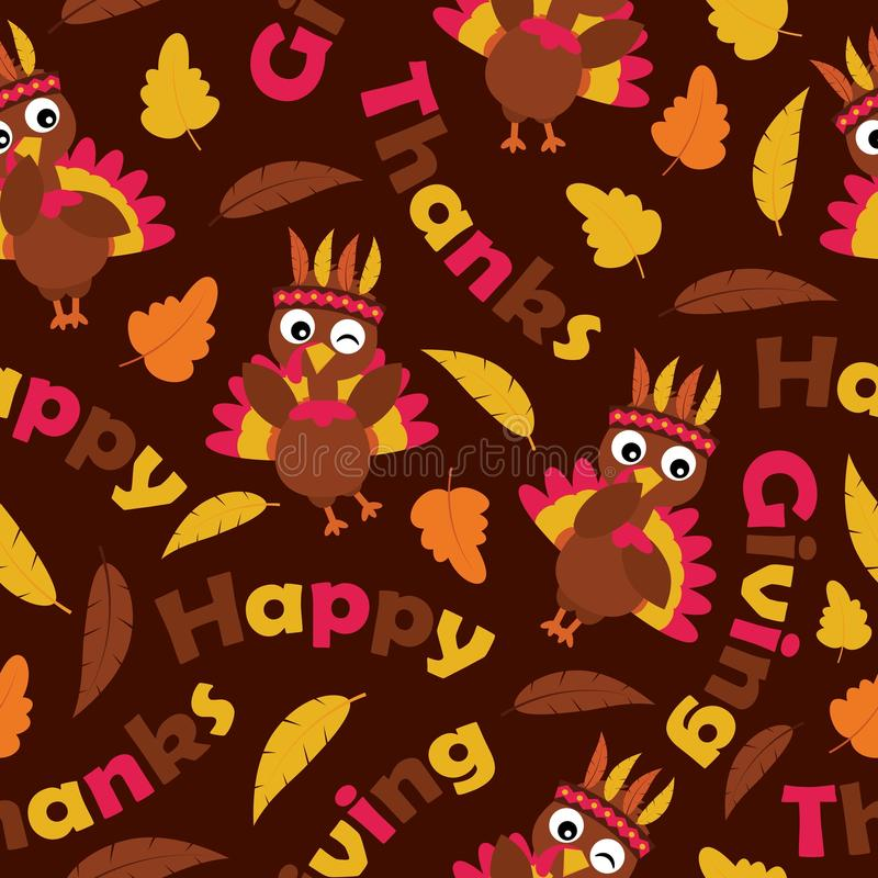 Leuke kalkoenen en esdoornbladeren op bruin vectorbeeldverhaal als achtergrond geschikt voor dankzeggingsbehang stock illustratie