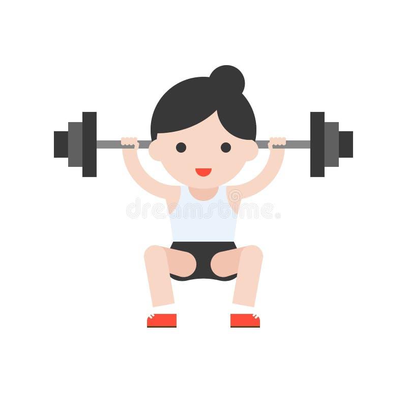 Leuke karakter weightlifter atleet met barbell, gewichtheffen vector illustratie