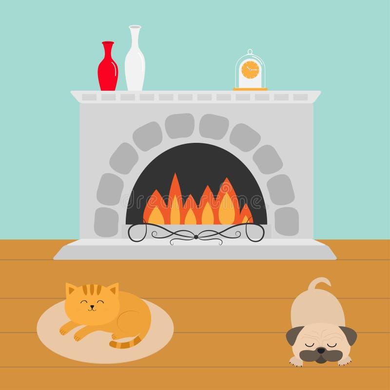 Leuke kat die op de ovale mat van de tapijtdeken liggen Slaapzwabberspug hond Grappig beeldverhaalkarakter Open haard met vaasree stock illustratie