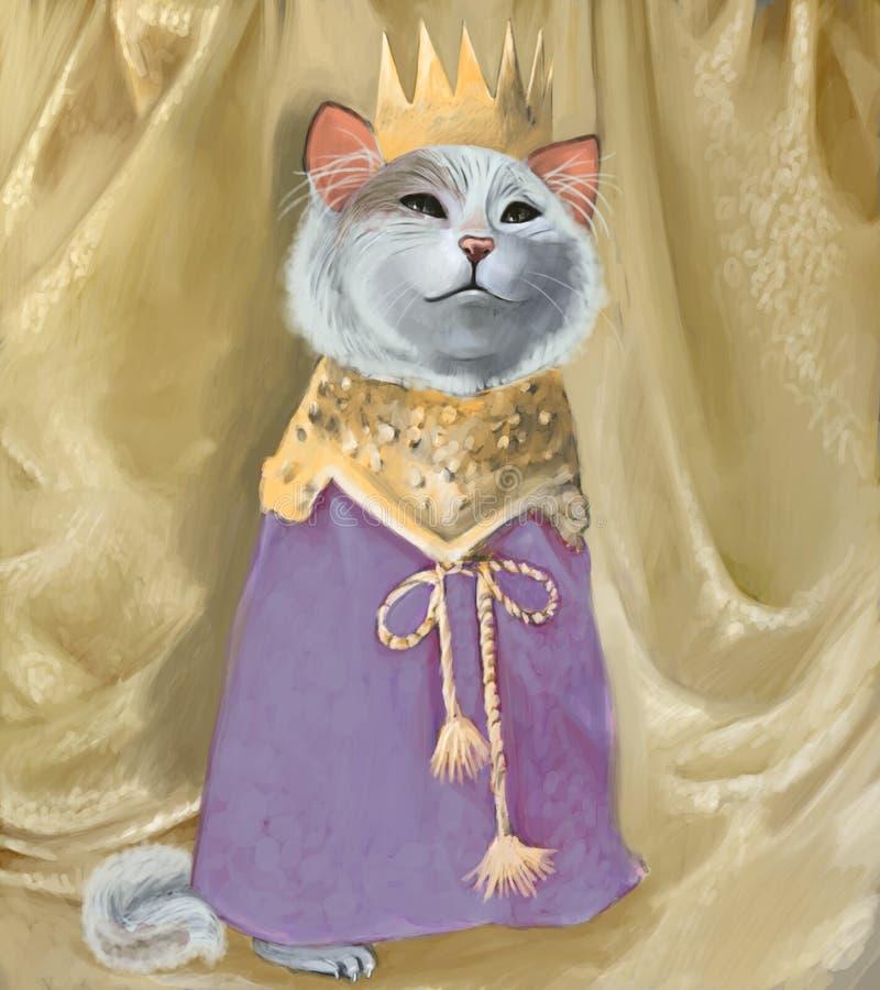 Leuke kat in kroon en koninklijke robes royalty-vrije illustratie
