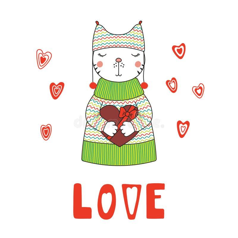 Leuke kat met een hart vector illustratie