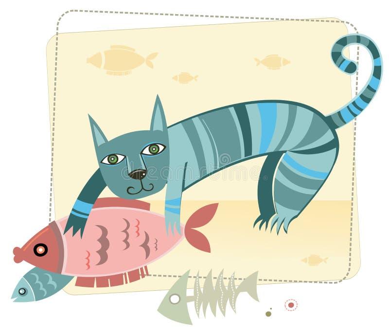Leuke kat met vissen royalty-vrije illustratie
