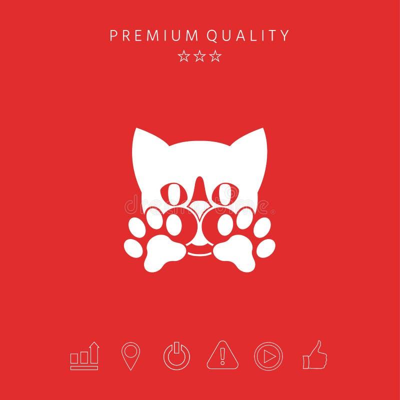 Leuke Kat, poten - het embleem, symbool, beschermt teken vector illustratie