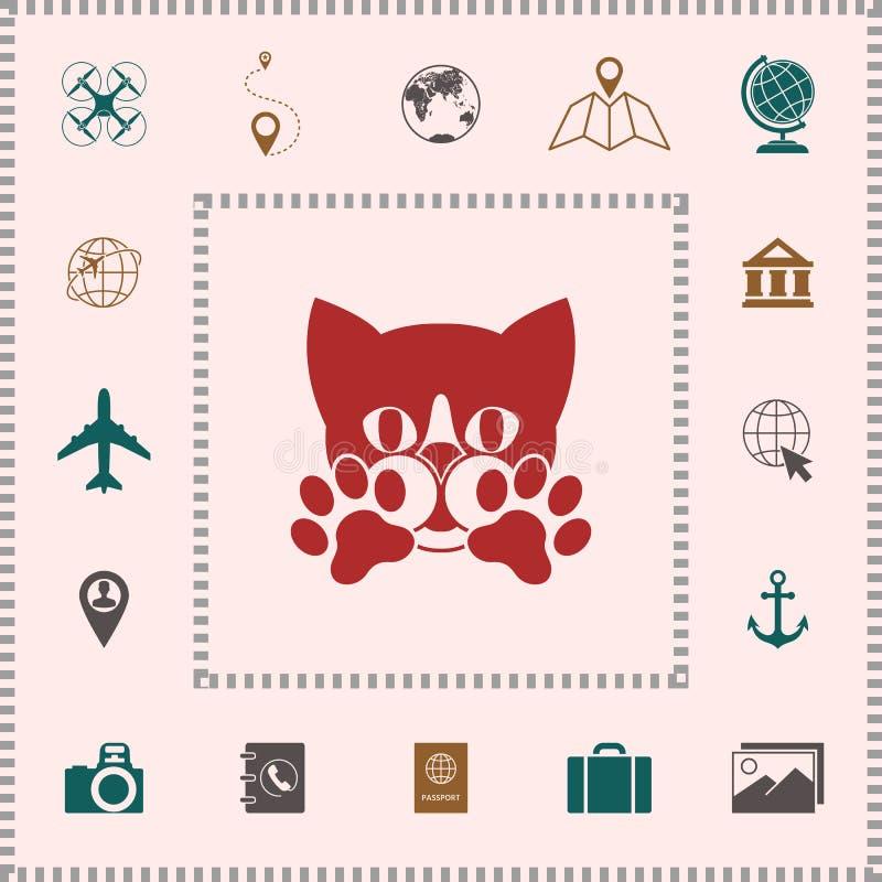 Leuke Kat, poten - het embleem, symbool, beschermt teken royalty-vrije illustratie