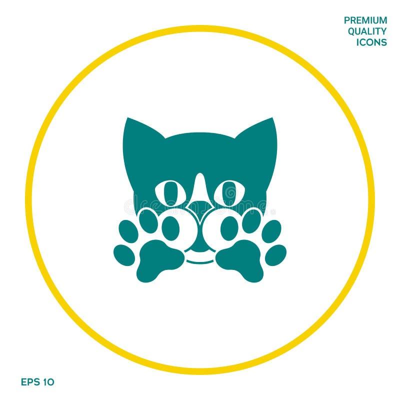 Leuke Kat, poten - het embleem, symbool, beschermt teken stock illustratie