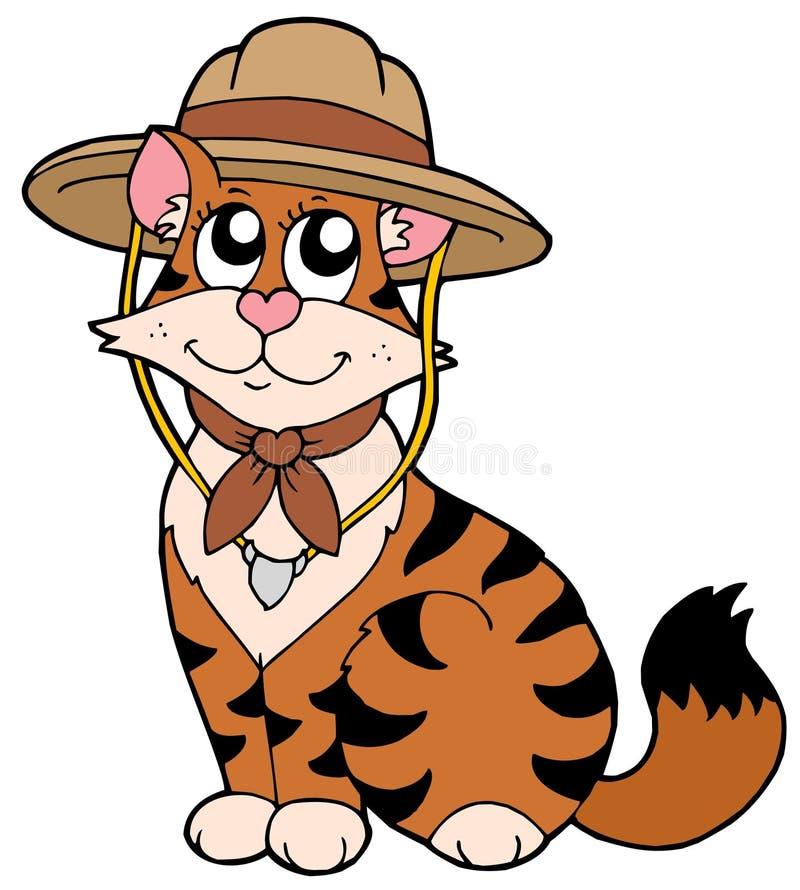Leuke kat in verkennershoed royalty-vrije illustratie