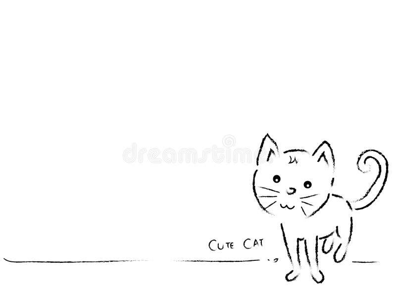 Leuke kat Zwart-witte achtergrond Lege ruimte stock illustratie