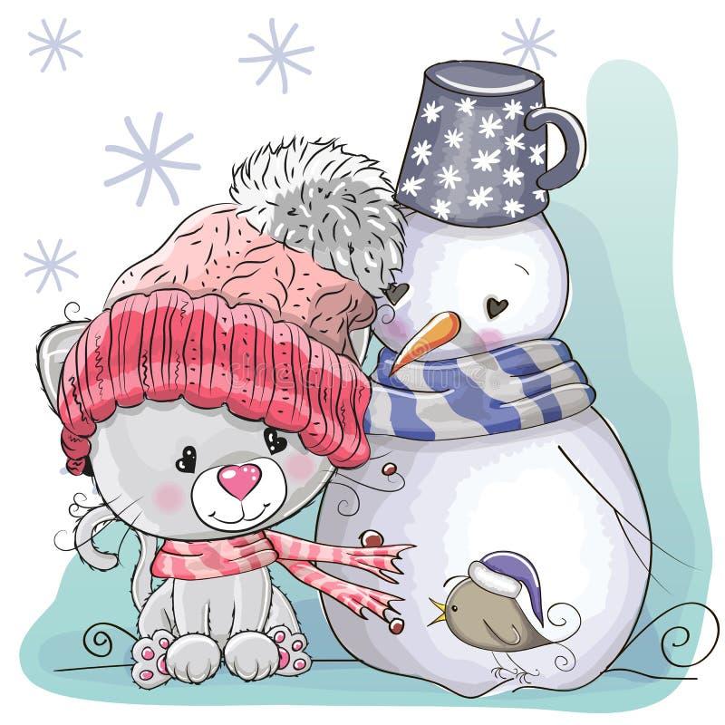 Leuke Katje en sneeuwman stock illustratie