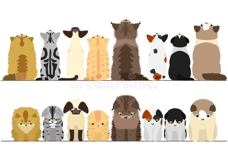 Leuke katten die boven en beneden grensreeks kijken stock illustratie