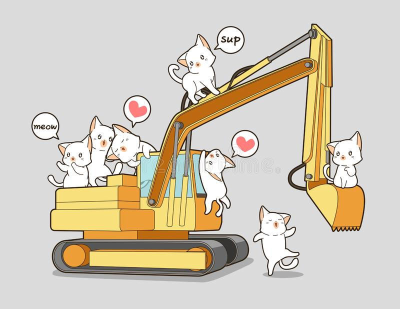 Leuke katten en de tractor royalty-vrije illustratie