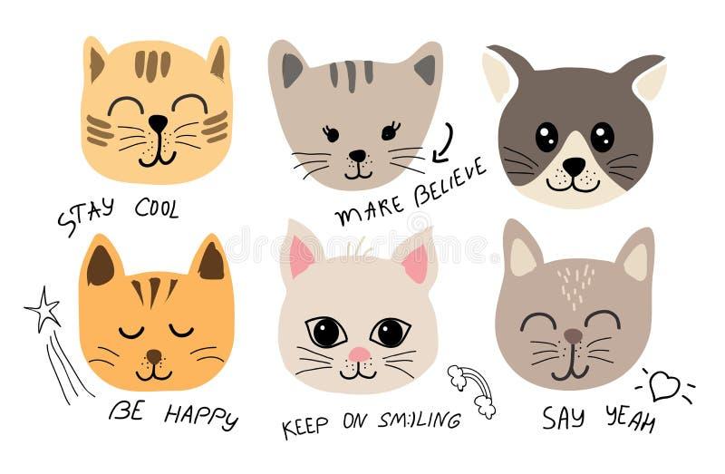 Leuke katten vastgestelde illustratie met inschrijvingen voor stof, t-shirt, kaarten vector illustratie