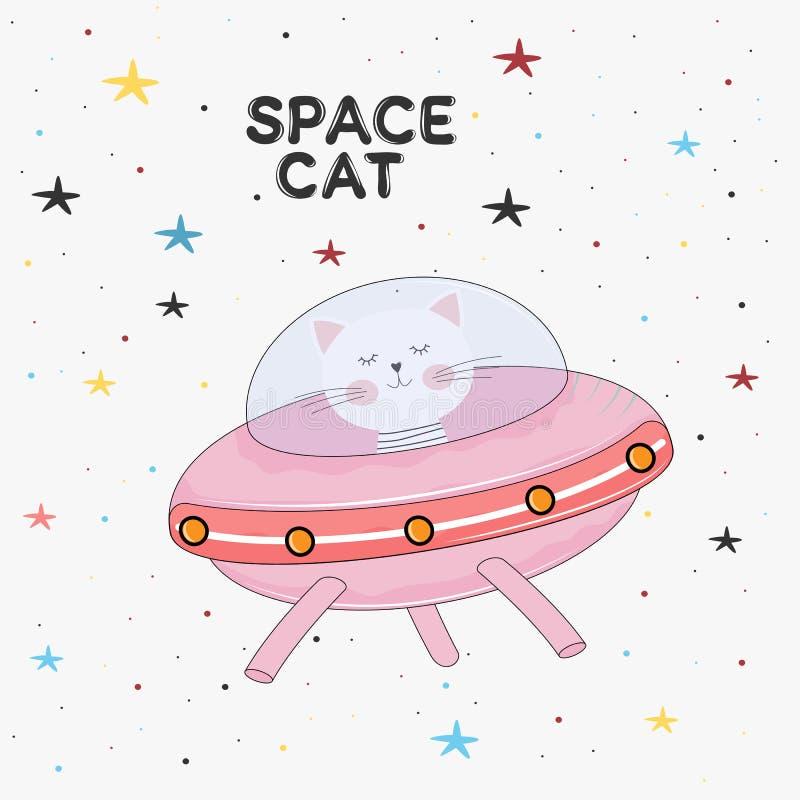 Leuke kattenastronaut in een geheimzinnige objecten ufo in de hemelnacht vector illustratie