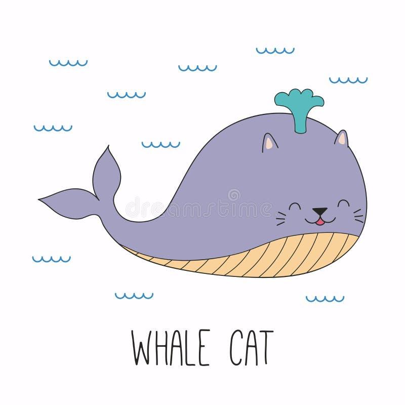 Leuke kattenwalvis stock illustratie