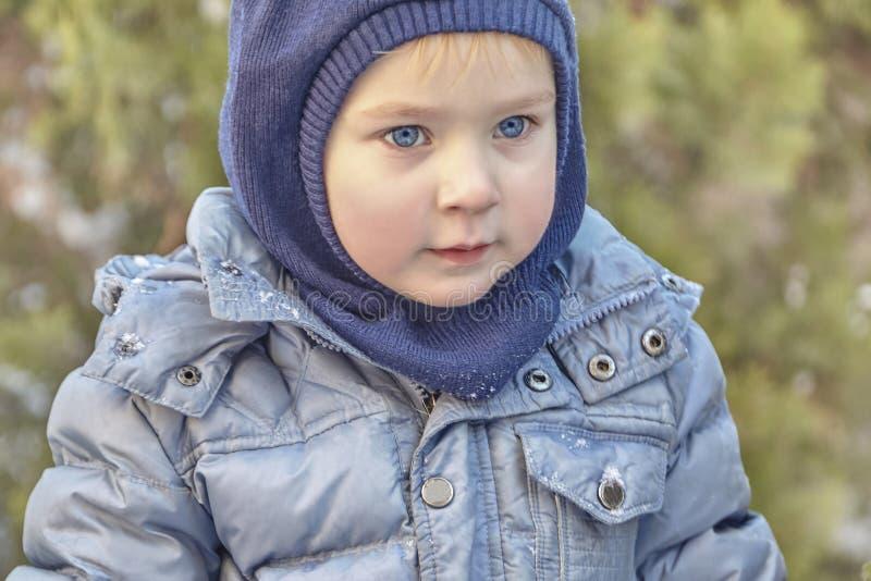Leuke Kaukasische liittlejongen met grote heldere blauwe ogen in de winterkleren en hoedenkap op groene achtergrond Gezonde kinde stock afbeeldingen