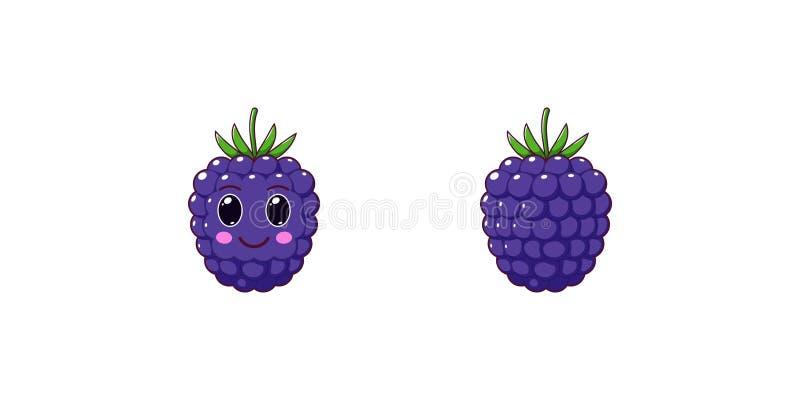 Leuke Kawaii Blackberry, Beeldverhaal Rijp Fruit Vector stock illustratie
