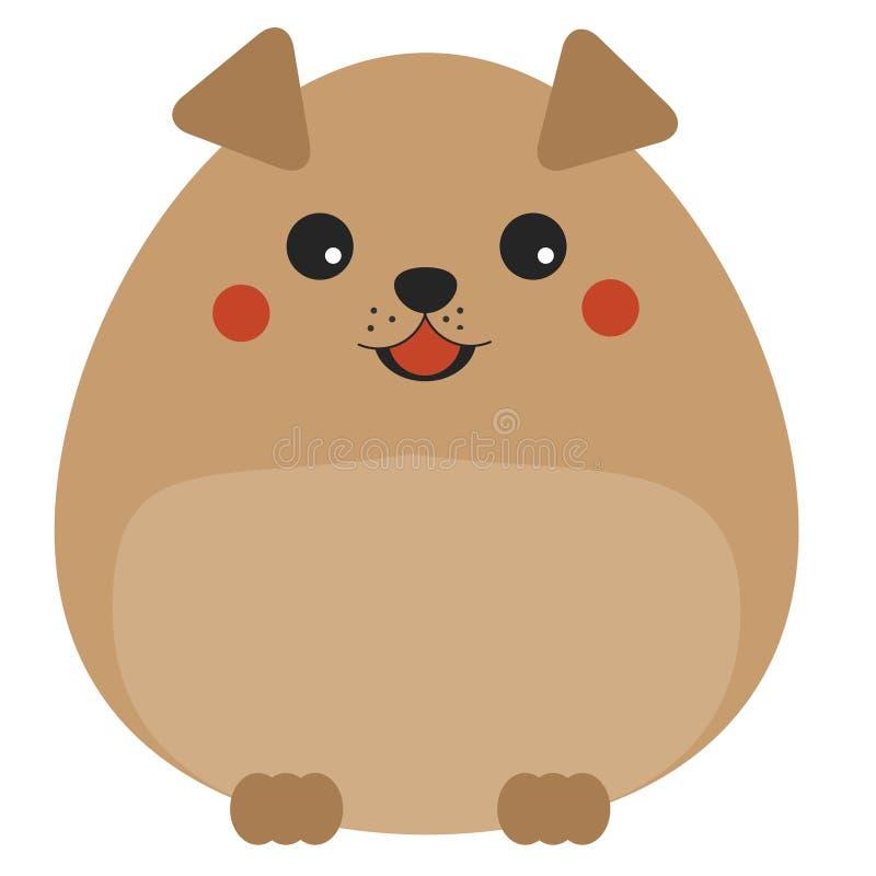 Leuke kawaiihond, puppykarakter Kinderenstijl, vectorillustratie royalty-vrije illustratie