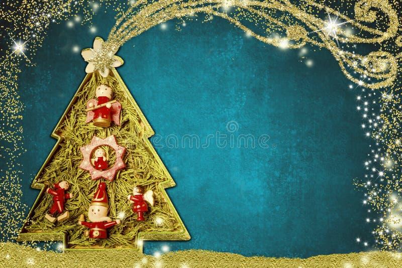 Leuke Kerstboomkerstkaart royalty-vrije illustratie