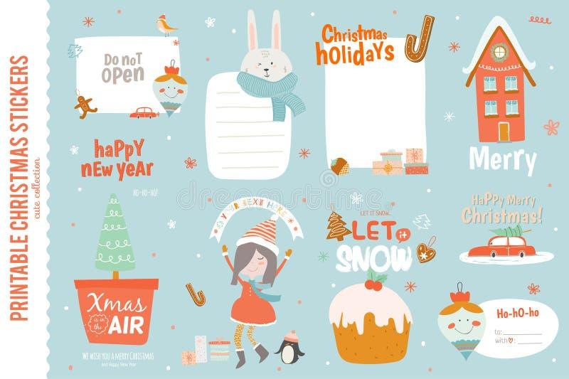 Leuke Kerstkaarten, etiketten en stickers vector illustratie