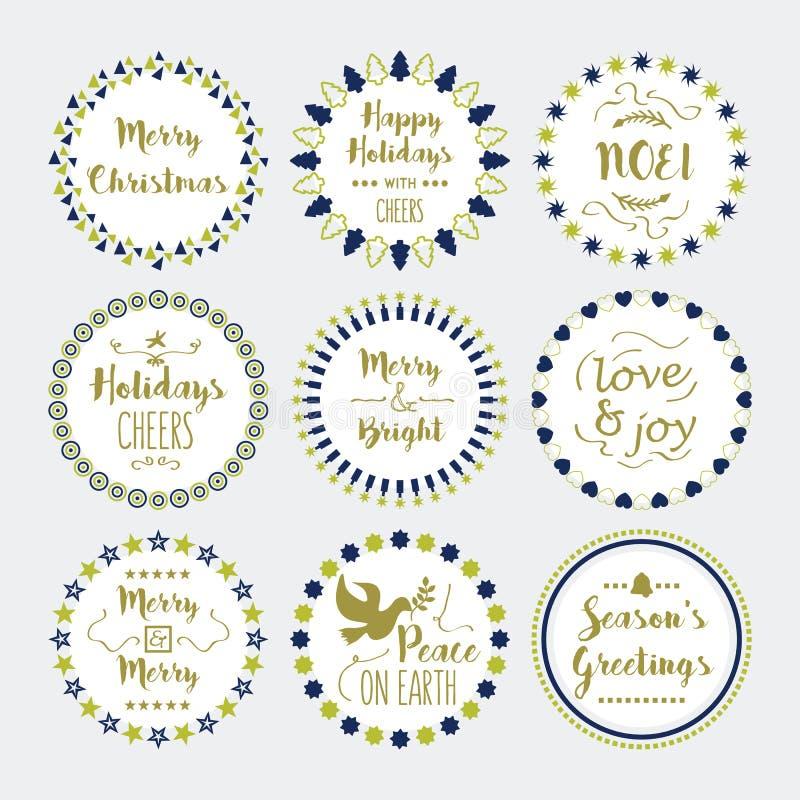 Leuke Kerstmis en Vakantie geplaatste wensenkroon en emblemen vector illustratie
