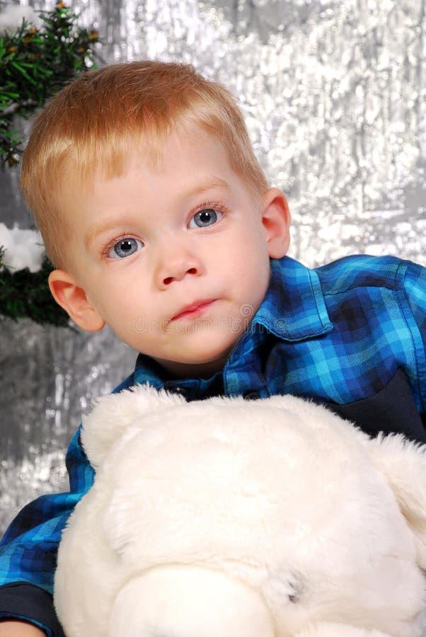 Leuke Kerstmis van het jongensjonge geitje stock afbeeldingen