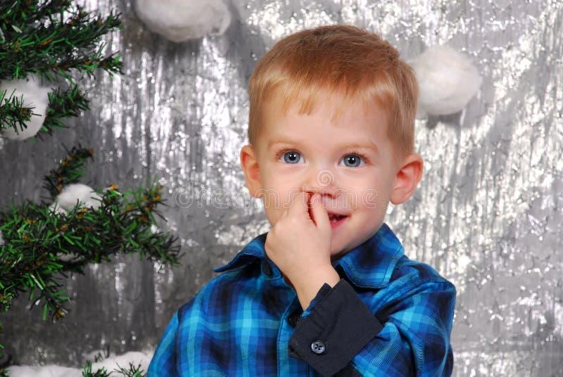 Leuke Kerstmis van het jongensjonge geitje royalty-vrije stock afbeeldingen