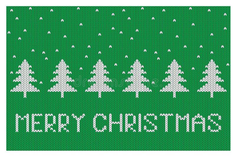 Leuke Kerstmis vectorillustratie Abstracte Witte Kerstbomen op een Groene Achtergrond vector illustratie