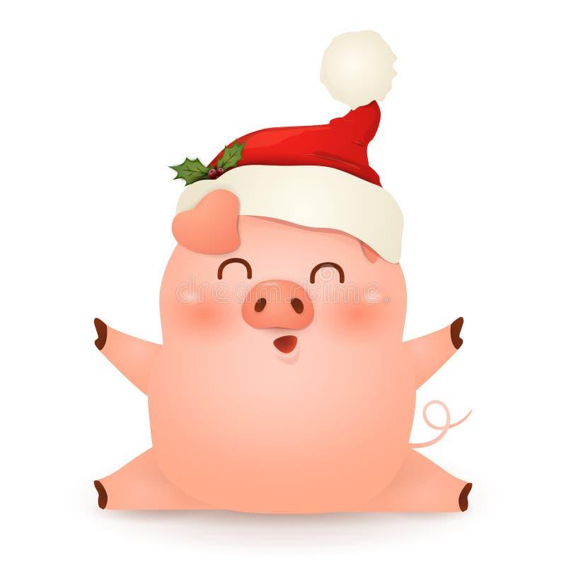 Leuke Kerstmis, weinig het karakterontwerp van het Varkensbeeldverhaal met de hoed van Kerstmissanta claus red, zitten geïsoleerd royalty-vrije illustratie