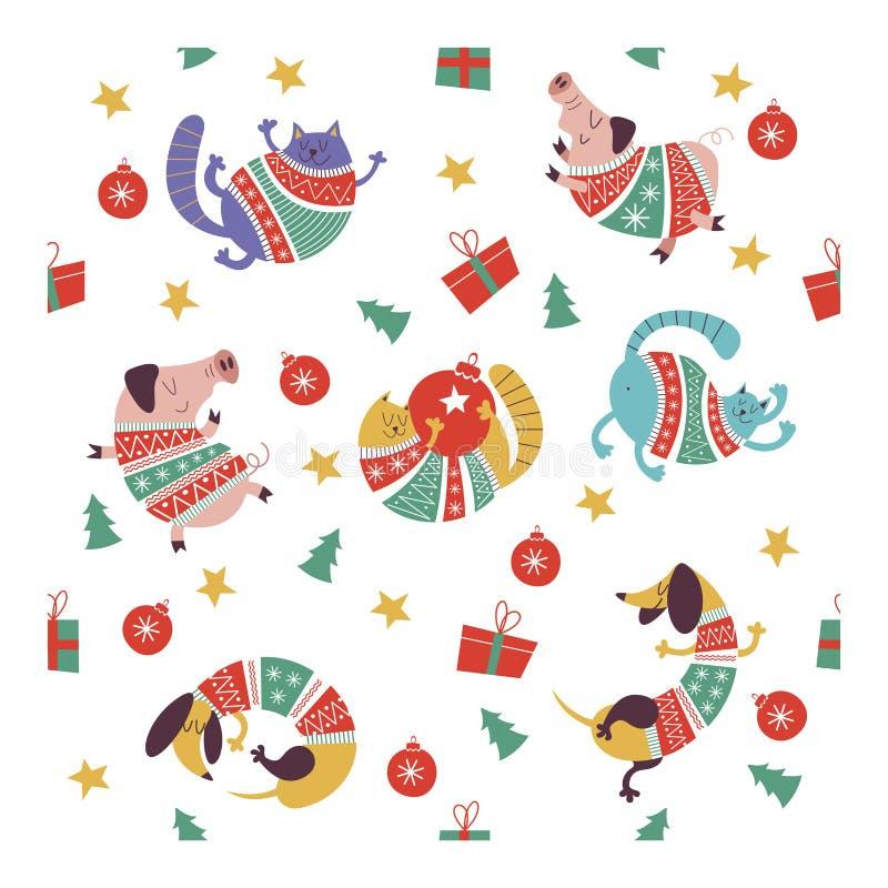 Leuke Kerstmiskatten in gebreide sweaters Naadloos patroon stock illustratie