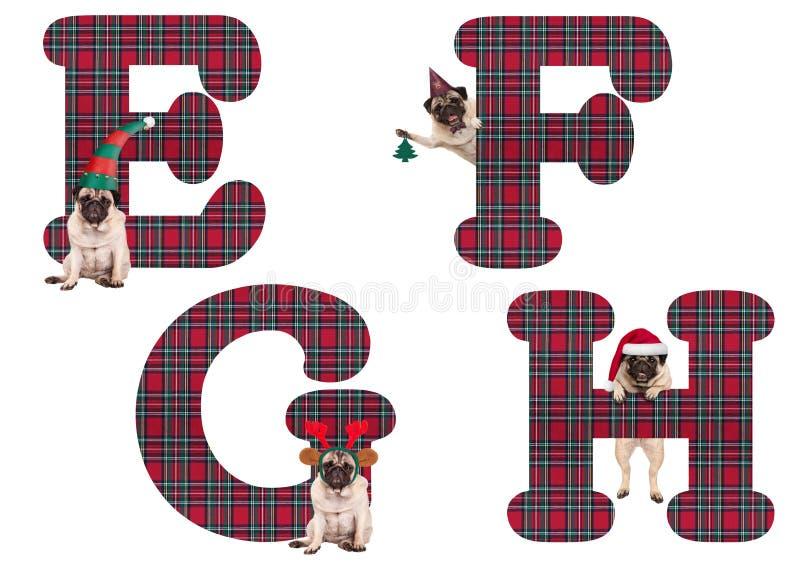 Leuke Kerstmispug het alfabetbrieven E-F G H van de puppyhond vector illustratie