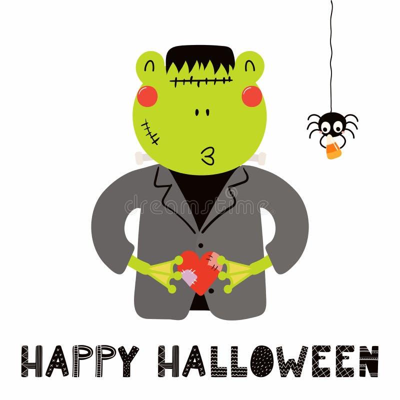 Leuke kikker in Halloween-kostuum royalty-vrije illustratie