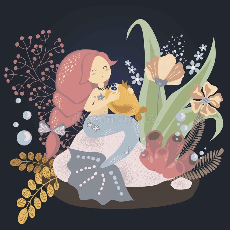 Leuke kinderachtige illustratie: weinig meermin met een vis Vector grafiek vector illustratie
