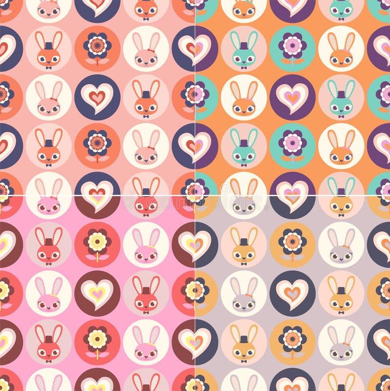 Leuke kinderachtige naadloze Grappige konijnen in harten en bloemen royalty-vrije illustratie