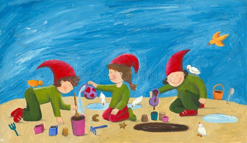 Leuke kinderen - dwergen die in het zand spelen royalty-vrije illustratie