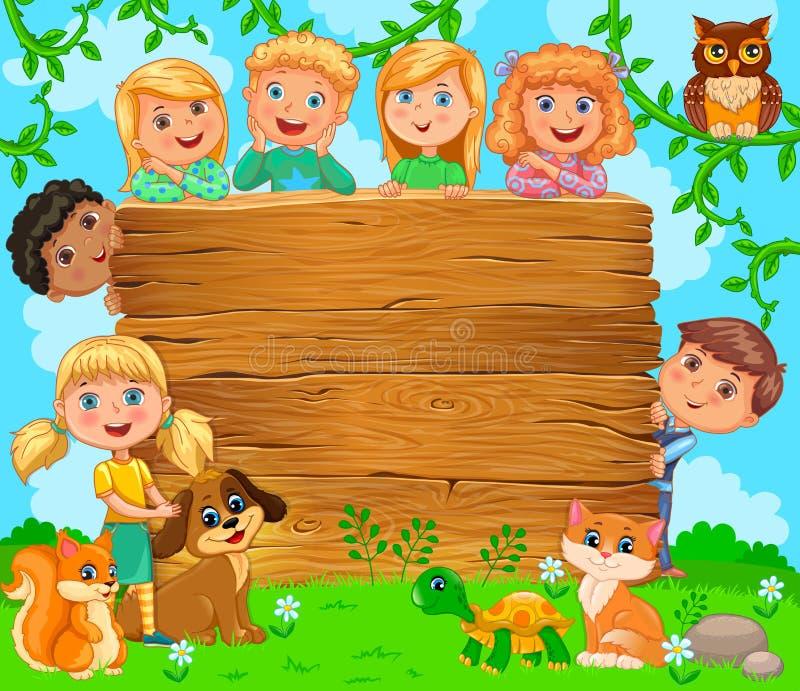Leuke kinderen en huisdieren dichtbij houten lege banner stock illustratie