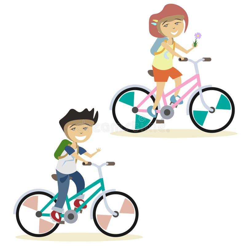 Leuke kinderen op fiets royalty-vrije illustratie
