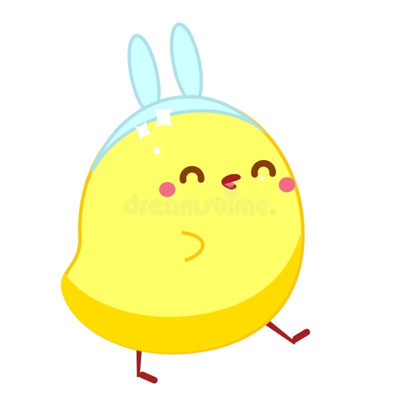 Leuke kip in kawaiistijl Weinig babykuiken in het kostuum van konijnhazen Het karakter van beeldverhaalpasen vector illustratie