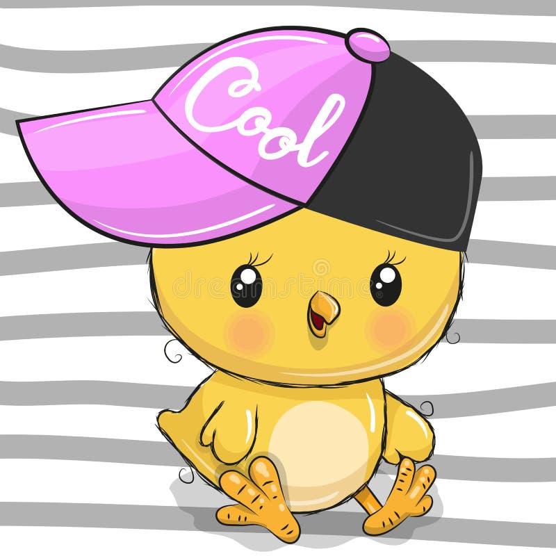 Leuke Kip met een roze GLB vector illustratie