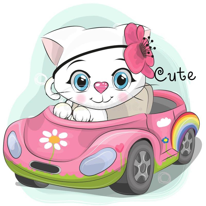 Leuke Kitten Girl gaat op de auto stock illustratie
