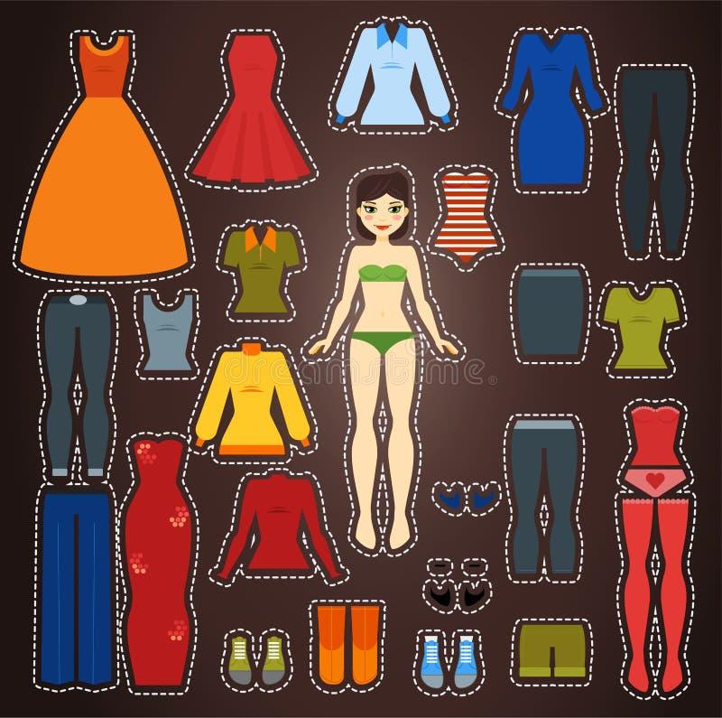 Leuke kleding op document het malplaatje van het poppenlichaam stock illustratie