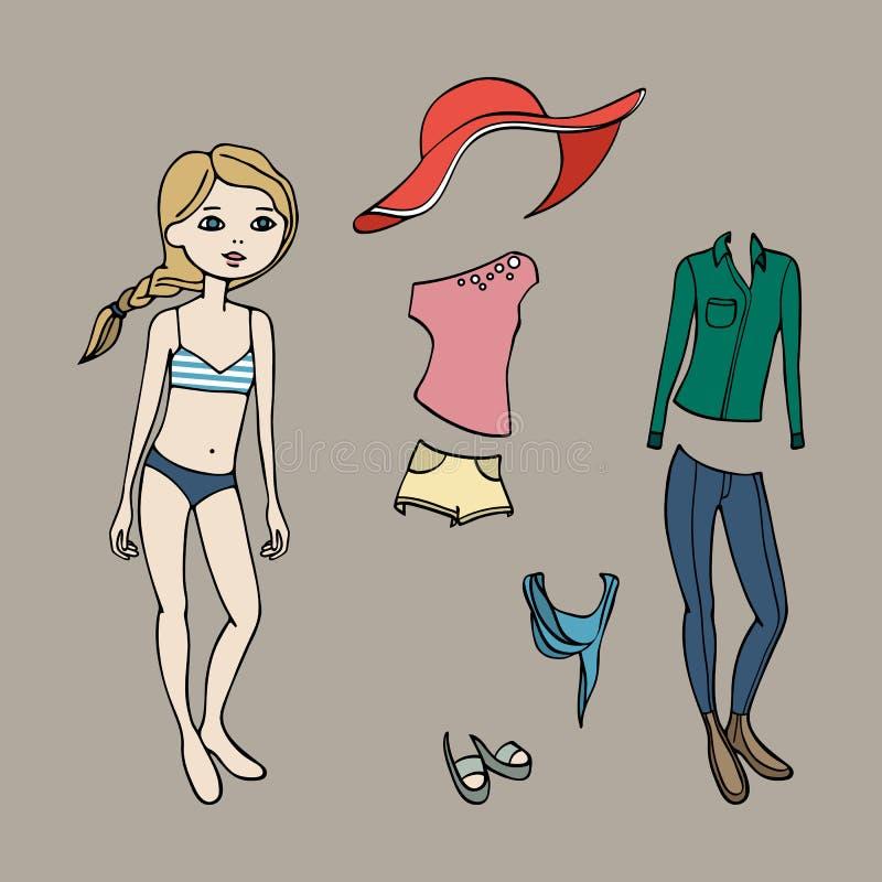Leuke kleding op document pop Lichaamsmalplaatje, kleding en toebehoren Vector illustratie stock illustratie