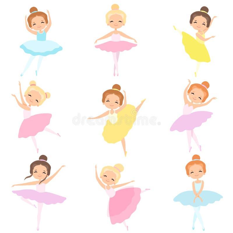 Leuke Kleine de Balletdanserskarakters van Ballerina's Dansende Vastgestelde, Mooie Meisjes in de Vectorillustratie van de Tutukl royalty-vrije illustratie