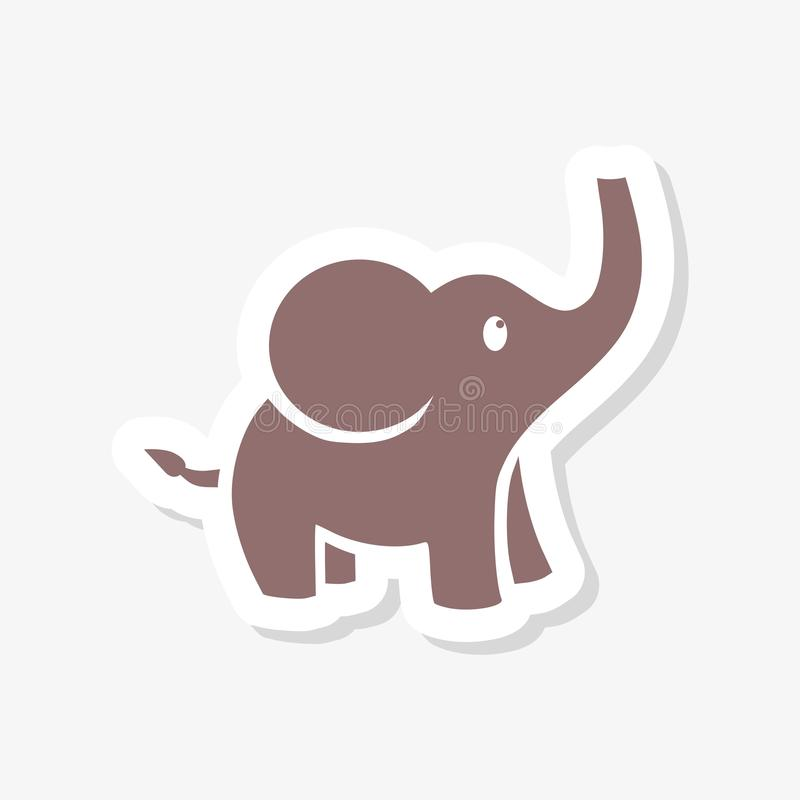 Leuke kleine, de sticker van de babyolifant stock illustratie